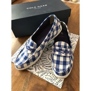 Cole Haan Blue/ White Gingham Loafer